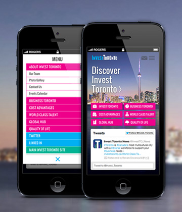HTML5 mobile web app for Invest Toronto